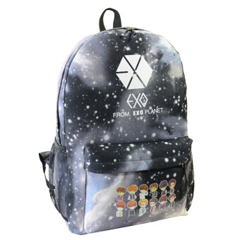 Kpop EXO Cartoon Schoolbag Satchel Backpack Student Book Bag Campus Bag Black