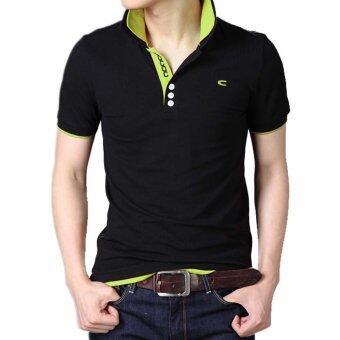 บิ๊กซีแฟชั่นผู้ชาย Huawa ปักเสื้อโปโลแขนสั้นเสื้อยืด (กองทัพสีเขียว)