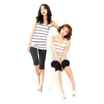Hotdeal เลกกิ้งนาโนขาสั้น Set 2 ตัว - สีดำ/เทา