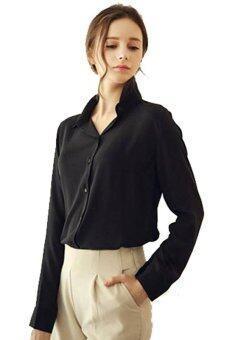 ปกเสื้อชีฟองเนื้อแขนเสื้อยาวหลวม ๆ สบาย ๆ มาใหม่เสื้อสตรีเสื้อเชิ้ตเสื้อยืดเสื้อ (สีดำ)
