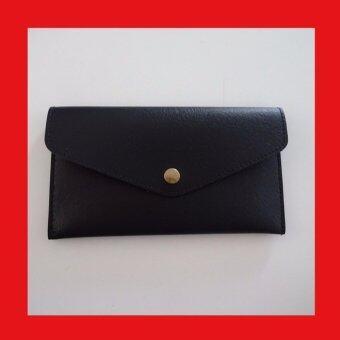 กระเป๋าใส่สมุดธนาคาร ใส่พาสปอร์ต แบ่ง2ช่อง (สีดำไม่มีลาย)
