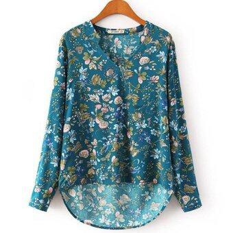 ยาวแขนเสื้อแฟชั่นสตรีไซเบอร์หลวมลำลองเสื้อลายดอกเสื้อ (สีน้ำเงิน)