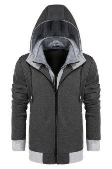 Sunweb Coofandy ชายเสื้อนอกแบบสวมฮู้ดผอมบางอบอุ่น Hoodies (เทาเข้ม)