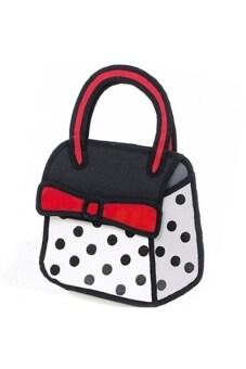 Women's Girls 3D Style Bowknot Decor Comic Cartoon Bag Handbag Tote Shoulder Bag Cross-body Messenger Bag Black