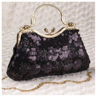 กระเป๋าออกงาน ทรงคุณหญิง ผ้าปักเลื่อม มีหูหิ้วประดับเพรช (สีดำ)