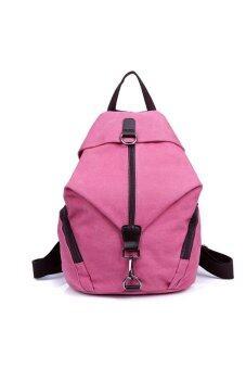 Retro Preppy Style Women's Girls Canvas Travel Backpack Rucksack Double-Shoulder Bag School Bag Pink