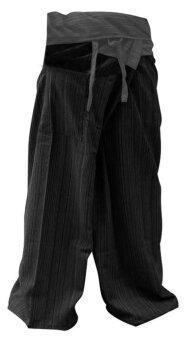 กางเกงชาวเลสองสี ผ้าสลาฟ เทา-ดำ