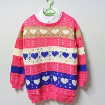 เสื้อกันหนาวไหมพรม สีสันสดใส แต่งลายหัวใจ แขนยาว น่ารักๆ สีชมพูสด