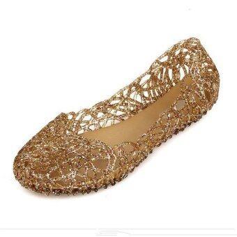 ฤดูวุ้นใส Multicolors ผู้หญิงระบายออกรองเท้ารองเท้าแตะแบนบุ๋ม