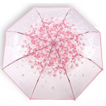 NUCHON ร่มใสพับ 2 ตอนกันฝนด้ามอะคิลิกพลาสติกใส โครงไฟเบอร์กลาส ลายกรีบดอกซากุระ สีชมพูสดใส รุ่น N4/004 - SakuraPink