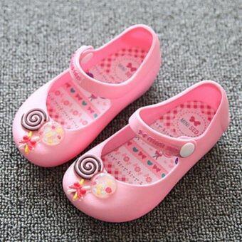 I81 แฟชั่นรัดเท้าลูกสาวร้อนใส่รองเท้ารองเท้าแตะสีลูกกวาดเยลลี่ลูกหญิง-ในประเทศ