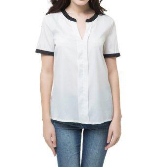 นิวแฟชั่นสตรีผ้าชีฟองคอวีสีดำแขนสั้นเสื้อลำลองออกเซ็กซี่เสื้อขาว