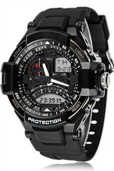 Quartz Analog Digital LED Waterproof Men's Black Rubber Band Sports Watch