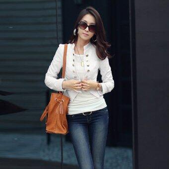 แขนเสื้อยาวสาวไซเบอร์บูธปกเสื้อกระดุมสองแถวแจ็คเก็ตสูทเสื้อนอกสั้น (ขาว)