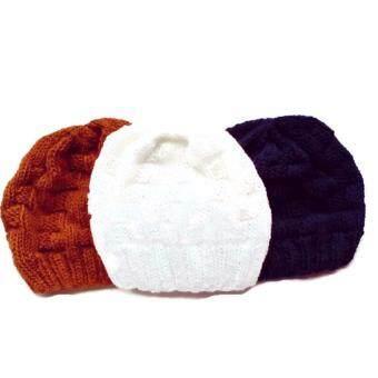 Handmade หมวกถักไหมพรมสีขาว สีเทาเข้มและสีจีวรพระ ลายตาราง