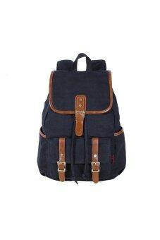 KAUKKO Vintage Style Multi-functional Unisex Men Women Canvas Backpack Rucksack Student School Bag Travel Shoulders Bag Black