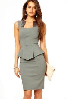 หญิงสาวสวมอยู่ภายใต้ชุดทำงานหรูทันสมัยแต่งตัวด้วยผ้าซาตินคอใส่แทรกธุรกิจใหม่แต่งตัว vestido M/L 2558 ยี่ห้อ