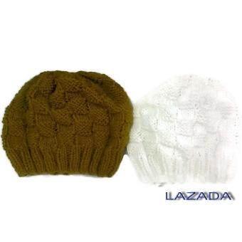 Handmade หมวกถักไหมพรมสีจีวรพระและสีขาว ลายตาราง
