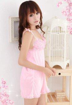 สาวเซ็กซี่ชุดชั้นในให้ใคร Happycat แต่งตัวชุดนอนชุดชั้นในชุดนอนยกทรงกางเกงในมินิ+สะดือ (สีชมพู) (ขนาดเดียว)