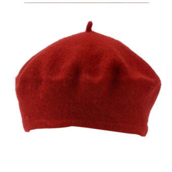 ฤดูหนาวอบอุ่นแข็งแรงสวมหมวกผ้าขนสัตว์สตรีฝรั่งเศสใส่หมวกบีนนี่ฝีมือสีแดง-ระหว่างประเทศ
