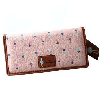 หญิงสาวดอกไม้แบบหนังเทียมกระเป๋าถือกระเป๋าสตางค์กระเป๋าถือบัตรคลัตช์สีชมพู
