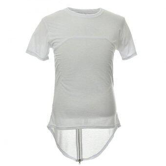 ย้อนกลับซิปห้อยเสื้อยืดผู้ชายเสื้อฮิปสตรีทแวร์ฮิปฮอปสเกตบอร์ดกลมขาว