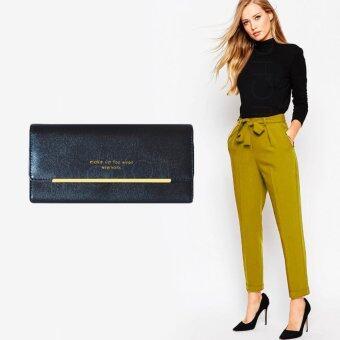 Nuchon Bag กระเป๋าสตางค์ ใส่มือถือ New York Smart Wallet Iphone 6S Size M (Black)