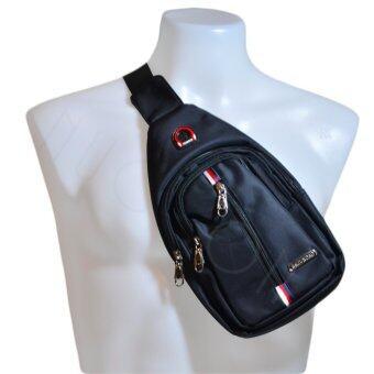 Nuchon SKJUNDAD Canvas Shoulder Chest Hiking Bag กระเป๋าสะพายข้างสีดำ/แดง