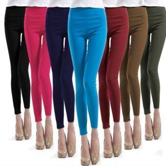 กางเกงขายาว ผ้ายืดหยุ่น Stretchable Korean Style Casual Pants (สีแดง)