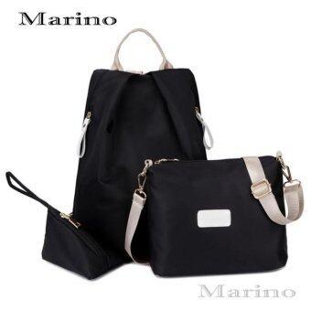 Marino กระเป๋าเป้ กระเป๋าสะพายข้างสีดำ กระเป๋าเซต3 ใบ No.0211 - Black