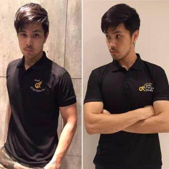Nine One One POLO T-Shirt Black เสื้อโปโล สีดำ โปโลดำ ปักด้วยด้าย สีทอง-ขาว ( 1แพ็ค - 2ลาย)