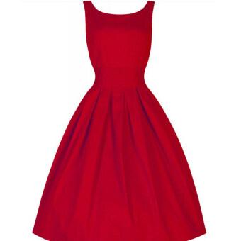 เสื้อวินเทจสไตล์ค็อกเทลไซเบอร์หญิงแต่งตัวชุดราตรี (สีแดง)
