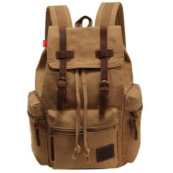 niceEshop Daypack สบายกระเป๋าเป้กระเป๋าผ้าใบสำหรับผู้หญิงผู้ชาย (กากี)