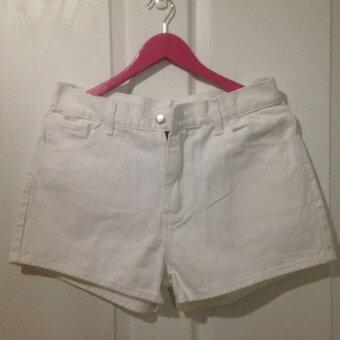 Cat Jeans กางเกงยีนส์ ขาสั้น สีขาวเรียบ เอว 34