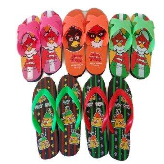 รองเท้าเด็กขนาด7-7.5นิ้ว สีชมพู ส้ม เขียว แดง แพ็ค 5คู่