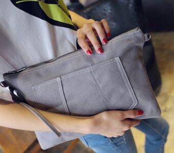 กระเป๋าClutchผ้าใบ สีเทา
