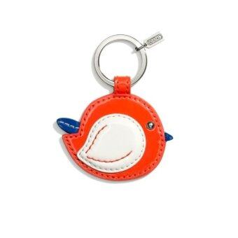 Coach Bird Motif Patent Leather Key Chain - Red