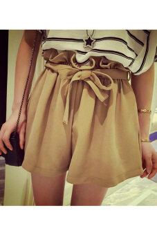 สาวเอวสูงรัดหลวมไซเบอร์กางเกงขาวเข็มขัด (กาแฟ)