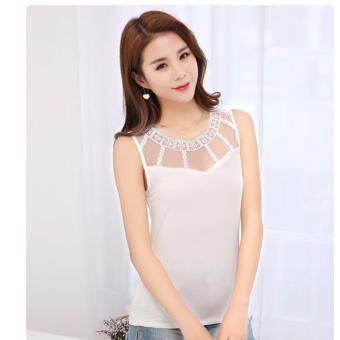 NW Fashion เสื้อแขนกุดแฟชั่น สีขาว