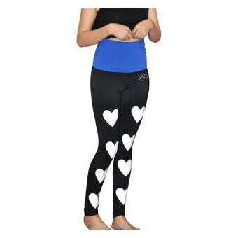 Grisha Ladies Tight fit Fold-over pants - Black/Blue