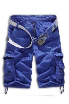 ปล่อยทหารชุดพรางทหารทรงกางเกงขาสั้นเข็มขัดไม่ (สีน้ำเงิน)