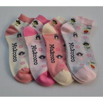 Makcoco socks fashion for lady pack 4 ลายดอกไม้