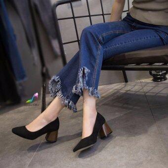 รองเท้าคัชชูส้นตันลายไม้หนังกำมะหยี่(สีดำ)(EU:37)