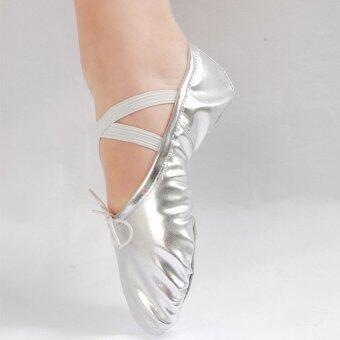 หญิงสาวชี้ไปที่รองเท้าหนังเต้นรำบัลเล่ต์ยิมนาสติกเลื่อมทอง 16 ขนาด