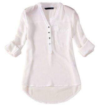 เสื้อชีฟองแขนยาว Hequ (ขาว)