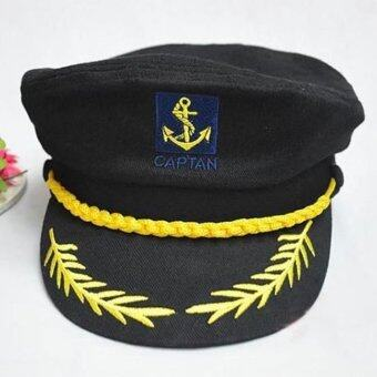 กรมท่าสวมหมวกสไตล์กัปตันเรือชาวโรมาเนียชั่วลูกชั่วหลานวงสีดำ