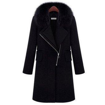เสื้อโค้ทกันหนาวสีดำ ผ้าวูลหนามีซับ ขนเฟอร์สีดำสวย ซิปหน้า