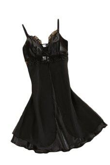 Jetting Buy Spaghetti Straps Sleepwear Robe (Black) - Intl