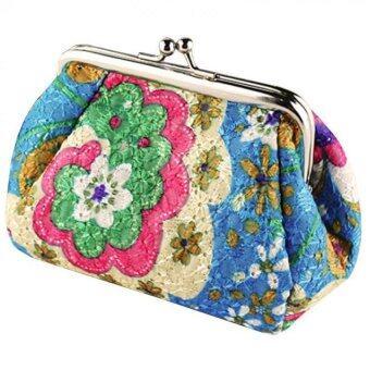 ใหม่กระเป๋าปักลายเรโทรเล็กนอนคว้ากระเป๋าสตางค์กระเป๋าถือสตรีกระเป๋าสตางค์ใส่สีน้ำเงิน