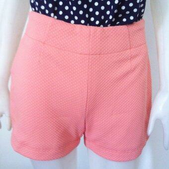 กางเกงขาสั้นผ้ายืดสีส้ม
